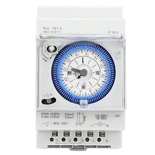 Temporizador mecánico, 15 minutos, 24 horas Temporizador relé con interruptor de tiempo, SUL181D Temporizador mecánico, 250VAC 16A, Utilizado en la industria, alumbrado público, iluminación
