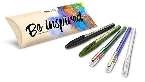 Pentel Kreativ-Set, 5-teilig, ideal für Handlettering, Bullet Journal, Grußkarten u.v.m. ideal zur Weihnachtszeit/Weihnachten