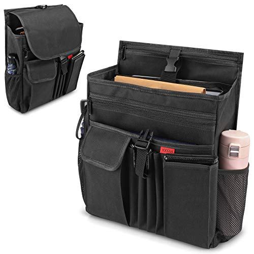 YOOFAN Car Front Seat Organizer with Laptop/Tablet Storage Pockets, Passenger Seat Organizer with Cover, Mobile Office&Car Accessories for Drivers Police Office&Work Men, Black