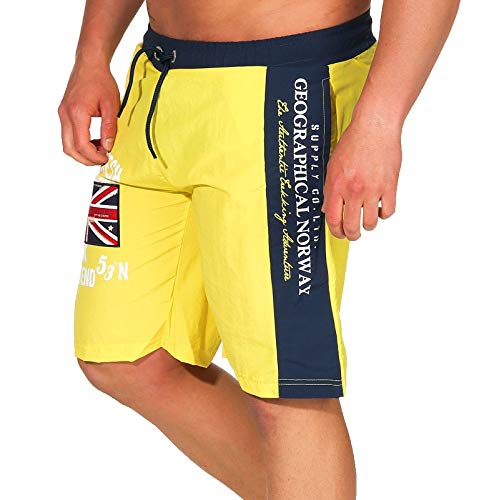 Geographical Norway Herren Badeshorts Quodesh mit Patches Knielang Flashy Yellow M