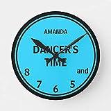 Ninguna marca turquesa y negro personalizado bailarines tiempo reloj redondo