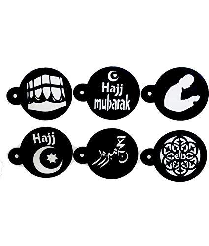 Hajj Mubarak islamische Motiv-Schablonen für Kaffee / Kuchen / Kekse, 6 Stück