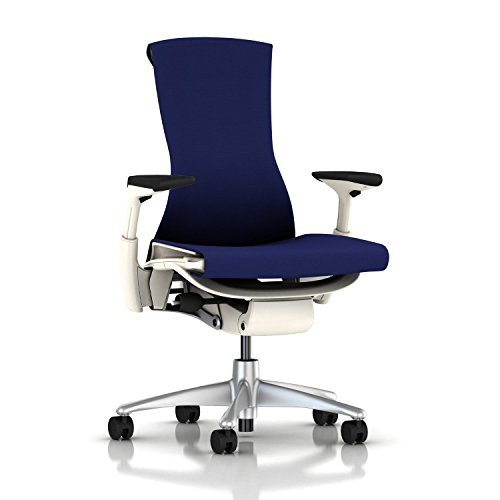 Herman Miller Embody Ergonomic Office Chair with White Frame/Titanium Base | Fully Adjustable Arms and Carpet Casters | Twilight Rhythm