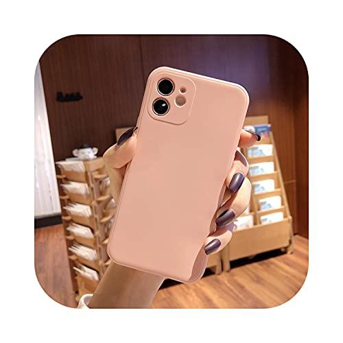 Funda de silicona líquida suave para iPhone 11 12 Pro Max 7 8 6 6S Plus XR X XS MAX SE mini Case Cover-Pink-Para iPhone 8plus