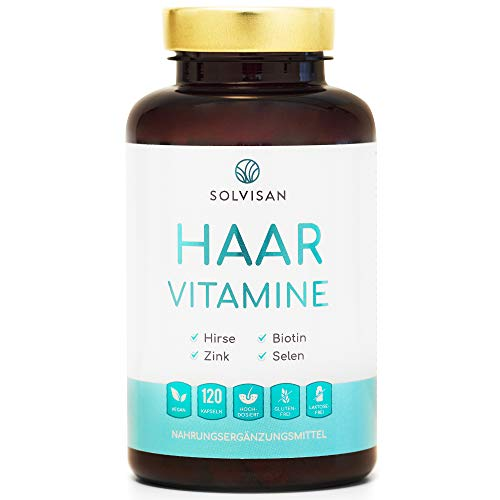 SOLVISAN Haar Vitamine mit Biotin, Zink, Selen, Silizium, Hirse - 120 Haarkapseln