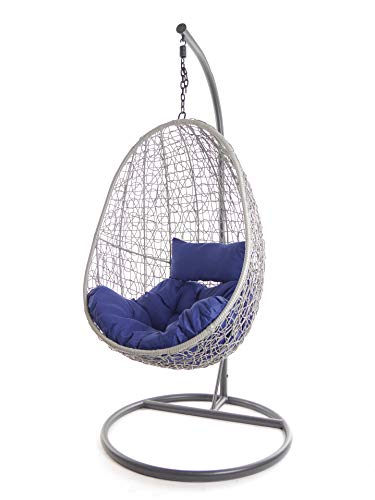 Kideo Juego Completo: sillón Colgante con cojín y Estructura, Muebles de salón para Interior y Exterior, Moderno SwingChairs, (Gris, cojín Acolchado Chestersteppen (cojín: Azul (5900 Admiral).