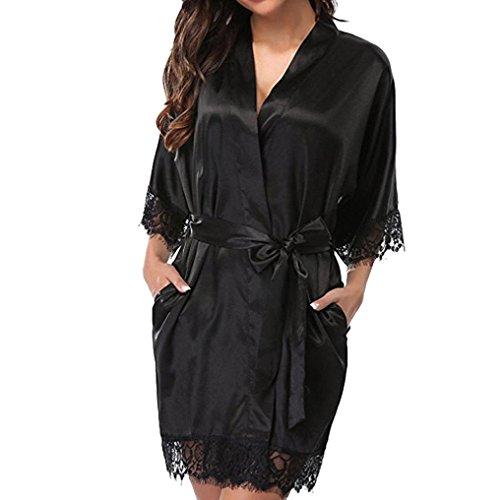 YKA Women's Lady Sexy Lace Sleepwear Satin Nightwear Lingerie Pajamas Suit (Black, M)