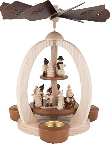 2-Tier Christmas Pyramid Winter Children - Exclusive - 28 cm / 11 inch - Christmas Carousel - Erzgebirge Pyramid - 100% Made in Germany