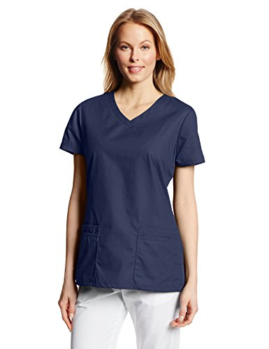 Dickies Damen EDS Signature V-Ausschnitt Top mit Mehreren aufgesetzten Taschen Jr - Blau - Groß