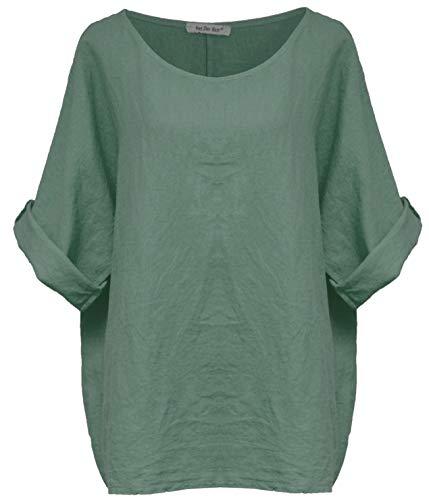 Van Der Rich ® - 100% Leinen T-Shirt Einheitsgröße von M bis XL (Made in Italy) - Damen (Grünes Khaki)