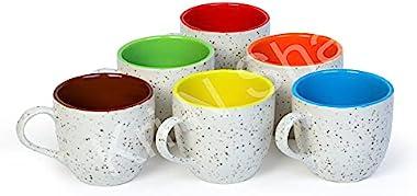BIZWIZ Store 180 ml Medium Size Ceramic Coffee Mugs Tea Cup Set Latest Design Coffee Cups Mugs Pack of4