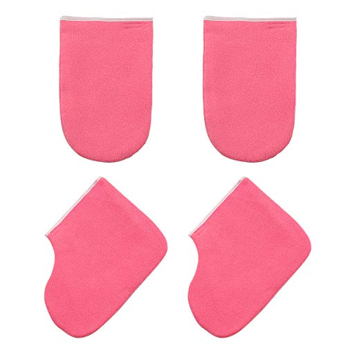 Lurrose Paraffin Wax Bath Terry Cloth Gloves Booties Heat Therapy Insulated Wax Bath Hand Treatment Mitts Foot Spa Cover for Women Red