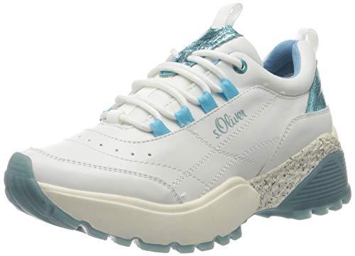 s.Oliver Damen 5-5-23633-34 Sneaker, Weiß (White/Aqua 186), 37