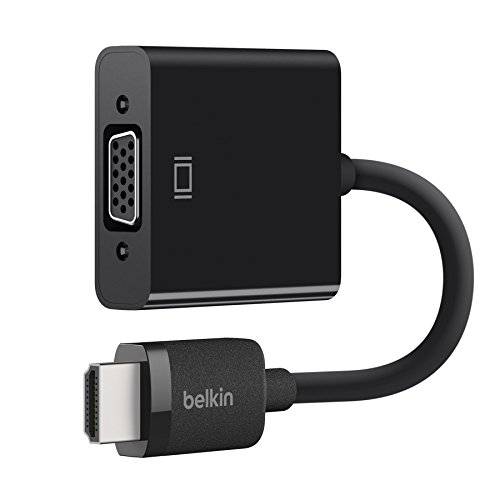 Belkin AV10170bt - Adaptador de HDMI Macho/VGA Hembra con Corriente por Micro-USB y con Audio de 3.5 mm, Negro