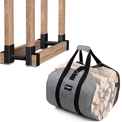 Amagabeli 2Pack Firewood Bracket Log Rack Outdoor Bundle Firewood Carrier Tote Waxed Canvas Log Tote