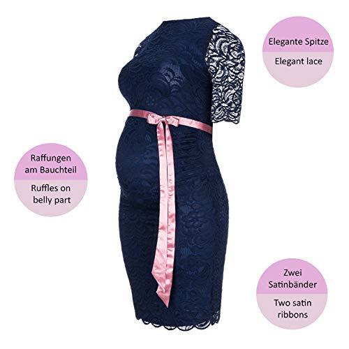 Herzmutter Umstands-Spitzen-Kleid, Elegantes-Knielanges Schwangerschafts-Kleid für Festliche Anlässe, mit Spitze aus Baumwoll-Mix, Creme-Weiß-Dunkelblau (6200) (Dunkelblau) - 4