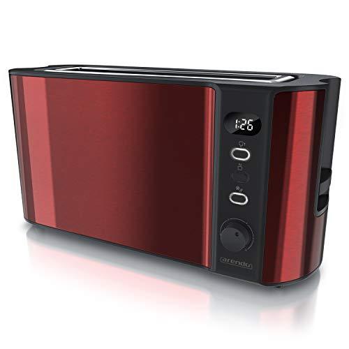 Arendo - Toaster Langschlitz 2 Scheiben - Defrost Funktion - 1000W - Doppelwandgehäuse - Integrierter Brötchenaufsatz - Bräunungsgrade 1-6 - Display mit Restzeitanzeige - Kaminrot Metallic