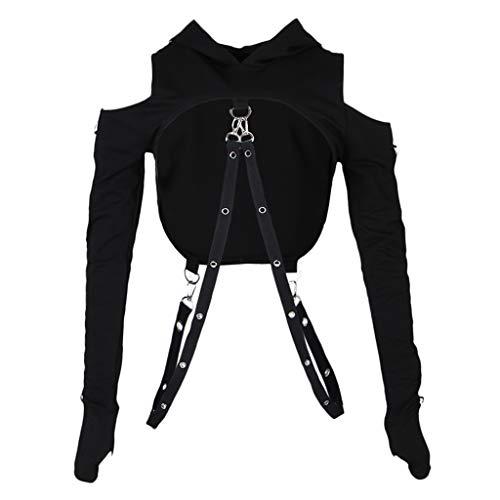 Baoblaze Gothic Frauen Sexy Hoodies Verband Metall Crop Tops Pullover Sweatshirts - Schwarz, S