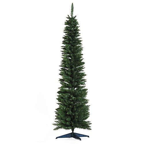homcom Albero di Natale Artificiale Slim con 390 Rami Supporto in Metallo Altezza 180cm