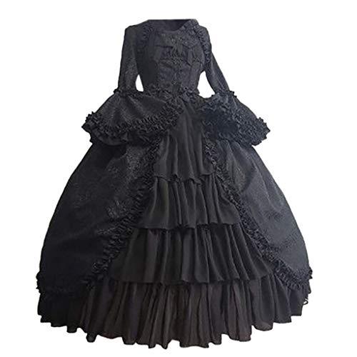 iCerber Große Größen Damen Elegant Mittelalterliche Vintage Gothic Gericht Kleid quadratischen Kragen Taille Nähen Bogen Kleid Cosplay Abschlussball Prinzessin Kleid(XXL,Schwarz)