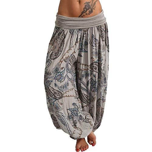 Vertvie Damen Hosen Lang Bedrucken Pumphose Haremshose Sommerhose Yogahose Aladinhose Baggy Harem Stil mit Elastischen Bund(Grau 3, 48)