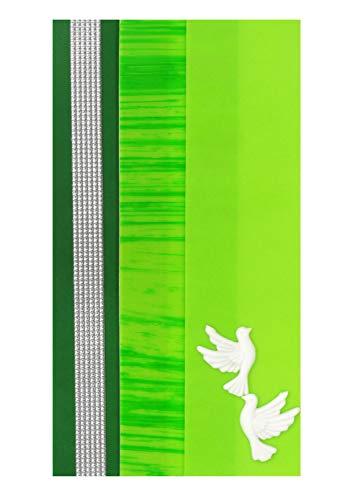 Pracht Creatives Hobby 7073-20035 Verzierwachsplatten Mix grün / silber, 3 halbe Wachsplatten, ca. 200 x 50 x 0,5 mm, Wachsstreifen und Sonderzeichen, zum Modellieren und Verzieren von Kerzen