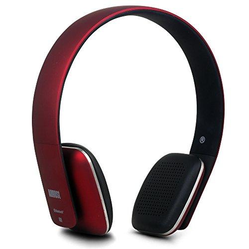 August EP636R- Bluetooth v4.1 NFC Kopfhörer - mit Freisprechfunktion und integriertem 14h Akku - Rot
