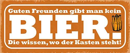 Deko7 blikken bord 27 x 10 cm Bier Spreuk: Guten Freunde gibt men nicht Bier. De weten waar de box staat