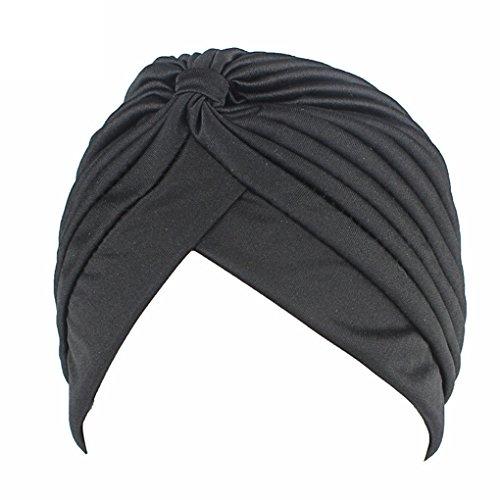 QHGstore Mujer Chemo plisado Pre cabeza atada cubierta hasta Bonnet Sun Turbante Cap negro