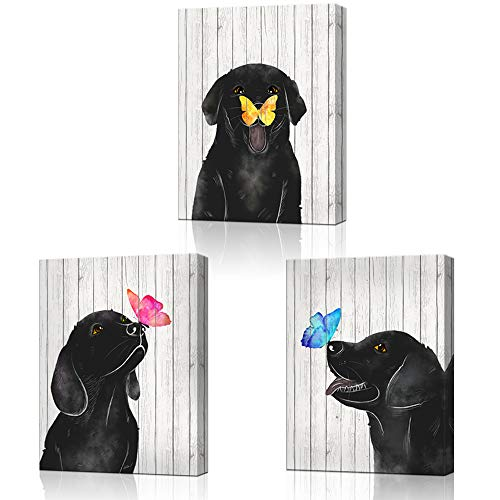 LoveHouse Framed Colorful Butterfly and Dog Wall Art Animal Theme Nursery Room Decor Black and White Wood Background Giclee Prints Gallery Wrap Ready to Hang 12'x16'x3pcs (Dog)