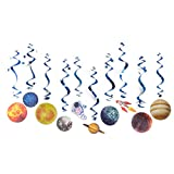 Solar System Hanging Swirl Decorations Outer Space Party Planet Party Supplies, 10 Pieces, Easy Joy