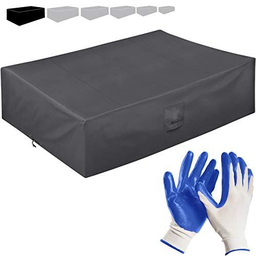 Funda Protectora para Muebles de jardín 250 * 200 * 80cm-recubierta de PVC-Impermeable/Resistente a los Rayos UV/Impermeable-con Aberturas de ventilación + Guantes de jardinería