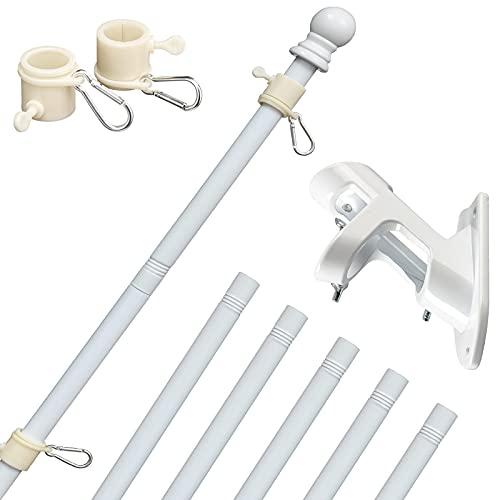 HORSE SECRET White Flag Pole Kit with Bracket - 5 FT Stainless Steel Professional Flagpole for American Flag Use Outside House Garden Yard