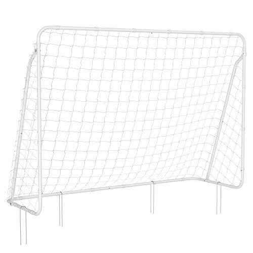 SONGMICS Fußballtor für Kinder, schnelle Montage, Garten, Park, Strand, pulverbeschichtete Rohre und PE-Netz, weiß SZQ215W01