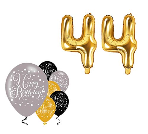 Feste Feiern Geburtstagsdeko Zum 44 Geburtstag I 8 Teile Luftballon mit 35cm Folienballon Schnapszahl 44 Gold Schwarz Silber Party Set Happy Birthday