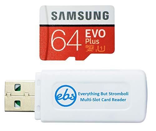 Samsung 64 GB Micro SDXC EVO Plus Speicherkarte mit Adapter funktioniert mit Samsung Galaxy S7, Tab S7+ Tablet, A21s Smartphone (MB-MC64HA) Bundle mit (1) Everything But Stromboli SD, TF Kartenleser