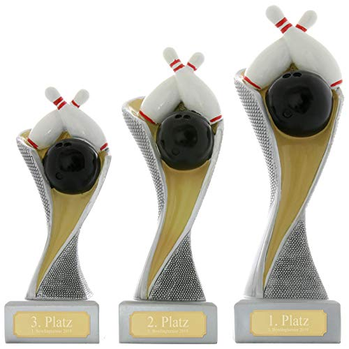 Pokalset je 1x Größe S, M, L Pokal Bowling Kegeln Pokal Pokalset METZ mit Gravurplatte und Gravur