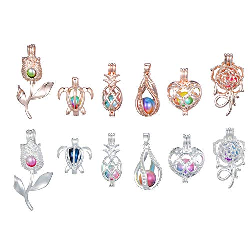 Happy Holiday Gifts12Pcs Rose Gold with Silver Pearl Bead Cages Pendant - Essential Oil Scent Diffuser Locket Cage Charms for DIY Bracelet Necklace Earrings Jewelry Making (6PCS Rose+6PCS Silver)