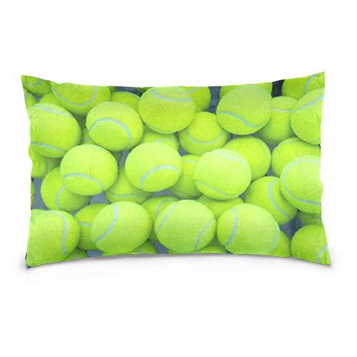 WH-CLA Pillow Cover Pelota De Tenis Funda De Almohada Deportiva Rectángulo 40X60 Cm Funda De Almohada Personalizable Funda De Cojín con Estampado De Dos Lados Cremallera Oculta para Coch
