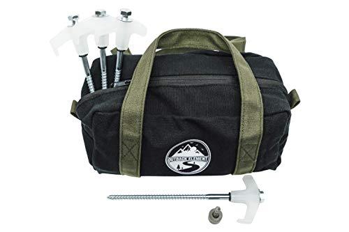 Outback Element - 15 estacas de tienda de campaña resistentes con cabezas que brillan en la oscuridad + bolsa de transporte de lona y broca hexagonal