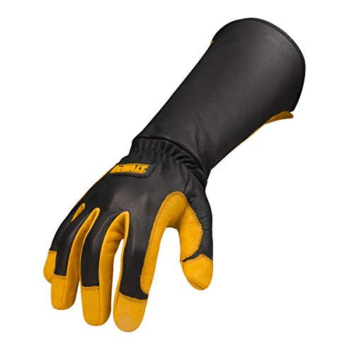 Dewalt Premium Leather Welding Gloves, Fire/Heat Resistant, Gauntlet-Style Cuff, Elastic Wrist, X-Large