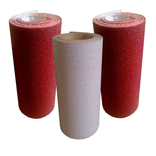 Papier à poncer lot de 3 rouleaux de 4mx10cm grain fin 180,240 et 400 abrasif pour bois, acier peinture… papier de verre ponçage facile. Utilisation main et cale à poncer