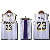 バスケットボールユニフォームボーイレイカーズ23#ジェームズジャージーバスケットボールユニフォームトレーニングスーツ-White-XXXXXXL