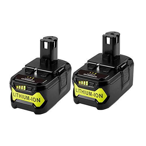 LabTEC RB18L50 - 2 paquetes de baterías de litio de repuesto para Ryobi 18V BPL-1815 BPL-1820G BPL1820 BPL18151 P102 P103 (18 V, 5000 mAh)