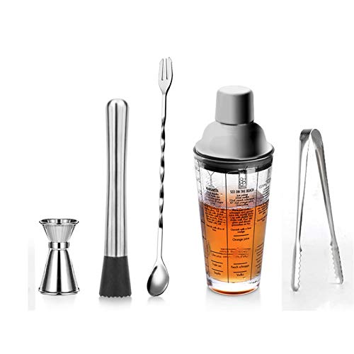 XHDD Drink Shakers Cocktail,Martini Recipes,Measured Mixing Glass and Stainless Steel Top Cobbler Shaker, Best Gift for Beginner,14oz