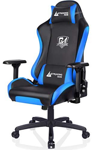 GTRACING Sedia da Gaming Ufficio Scrivania Poltrona Ergonomica Sedie Girevole con Braccioli 4D GTPLAYER Serie Blu