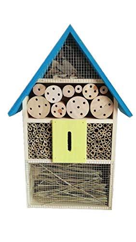 Eifa XXL 50 cm Insektenhotel BLAUES Dach Natur/Nistkasten Insektenhaus aus Holz für Bienen, Schmetterlinge, Käfer & andere Tiere