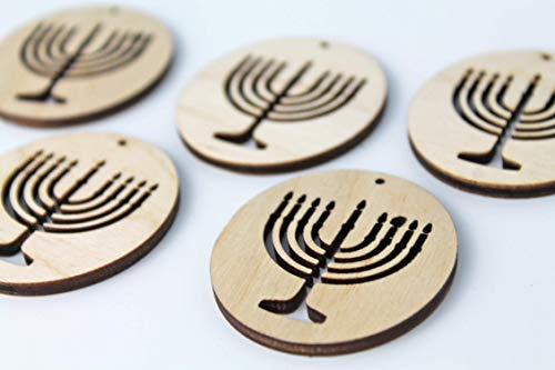 ALL SIZES BULK (12pc to 100pc) Unfinished Wood Wooden Hanukkah Menorah Laser Cutout Dangle Earring Jewelry Blanks Charms Ornaments Shape Crafts Made in Texas