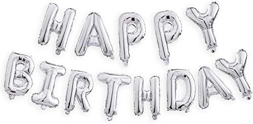 Globos para Fiesta de Cumpleaños, Globos con Letras Happy Birthday/ Feliz Cumpleaños, Suministros para Decoración de Fiesta 45CM (Plateado, Happy Birthday)