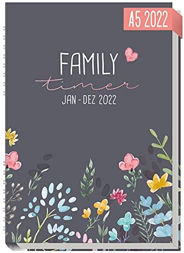 Family-Timer 2022 A5 [Happy Flower] Der Familien-Kalender! 12 Monate: Januar bis Dezember 22 | Familien-Planer für bis zu 4 Personen + viele hilfreiche Features | nachhaltig & klimaneutral